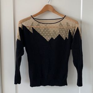Beyond Vintage black and mesh detail sweater